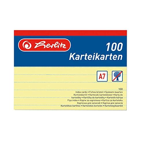 Herlitz Karteikarten A7 liniert VE=100 Stück gelb