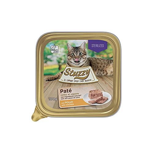Stuzzy Mister, Comida húmeda para Gatos Adultos esterilizados, Sabor Pollo, línea paté y Carne en trozos - Total 3,2 kg (32 tarrinas x 100 gr) ✅