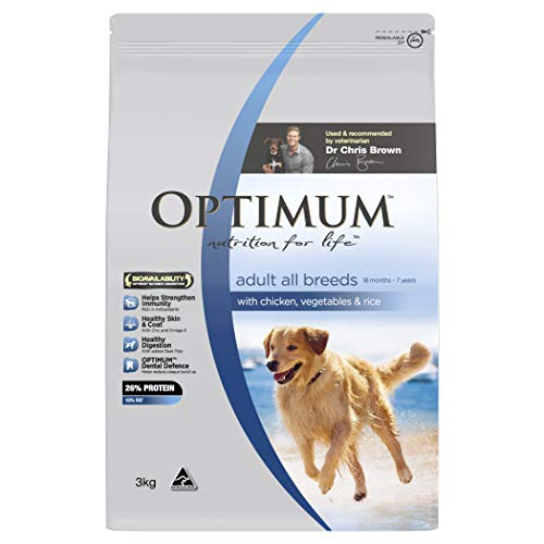 OPTIMUM Chicken Vegetables & Rice Dry Dog Food, 3kg Bag, 4 Pack, Adult, Small/Medium/Large