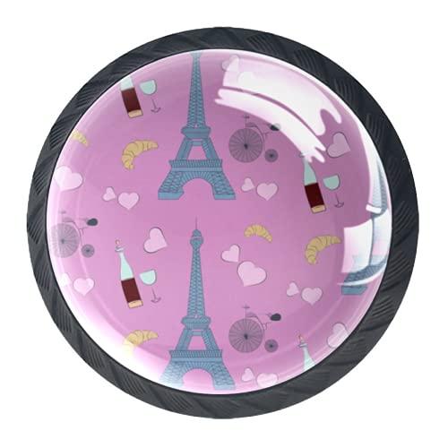 LXYDD Manijas para cajones Perillas para gabinetes Perillas Redondas Paquete de 4 para Armario, cajón, cómoda, cómoda, etc. Paris Elements Rosa