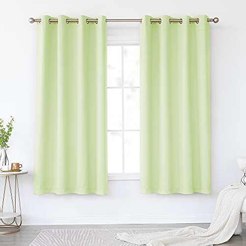 KEQIAOSUOCAI Light Green Blackout Bedroom Curtains 63 Inch - Top Grommet Window Drapes Room Darkening Thermal Insulated Mint Green Curtain for Living Room, 2 Panels, 52 x 63 Inches