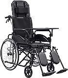 ZLYJ Silla De Ruedas con Carrito De Baño para Personas Mayores Discapacitadas Viajes Sillas De Ruedas Plegables Ligeras Sillas De Ruedas Plegables con Ruedas Black