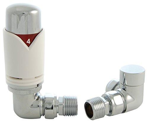 SMR Badkamers REALM-2-CR-W Realm Moderne Witte Thermostatische Radiator Klep (Hoek TRV)