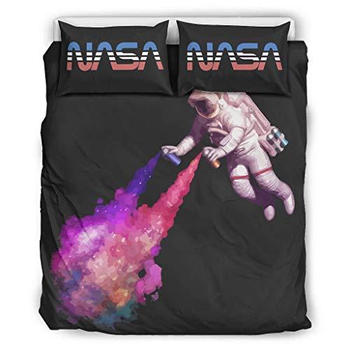 DOGCATPIG Coverlet NASA Astronaut Spray 100% fibra de poliéster, ropa de cama estilo pareja para todas las estaciones, color blanco 104 x 90 pulgadas