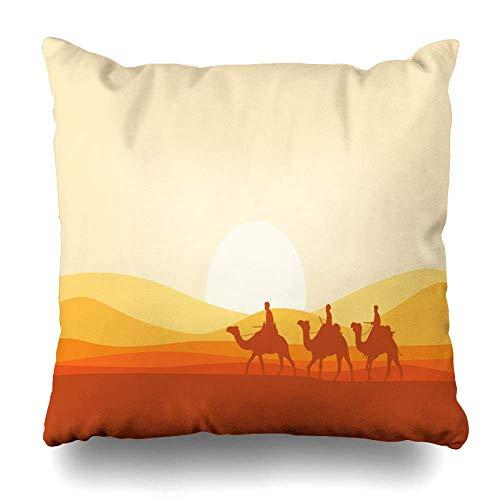 Sabalone Throw Pillow Cover Caravan Yellow Sunset Camel Atravesando el Desierto Dubai Naturaleza Naranja Arena Duna árabe Cultura de Marruecos Funda de cojín Decorativa 18x18 Pulgadas