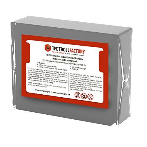 TFC Troll Factory Modelliermasse I Industriemodelliermasse I Formenbau Plastilin I mittelhart, grau I 1 x 1000 g