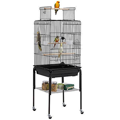 YAHEETECH Open Top Rolling Parrot Bird Cage for Cockatiel Sun Parakeet Green Cheek Conure Mid-Sized Parrot Cage with Detachable Stand