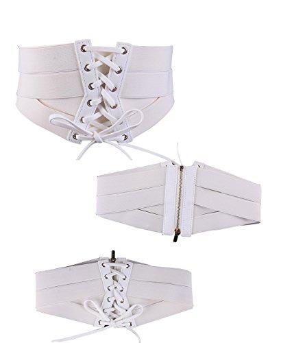 YOLI Women's Stretch Elastic Wide Band Lace-up Waspie Corset Waist Belt Cinch