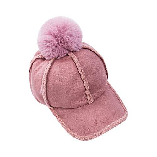 Sombrero de mujer estilo lengua pato bola de pelo grande punteada con color puro todo partido personalidad Cap, rosa, Talla única