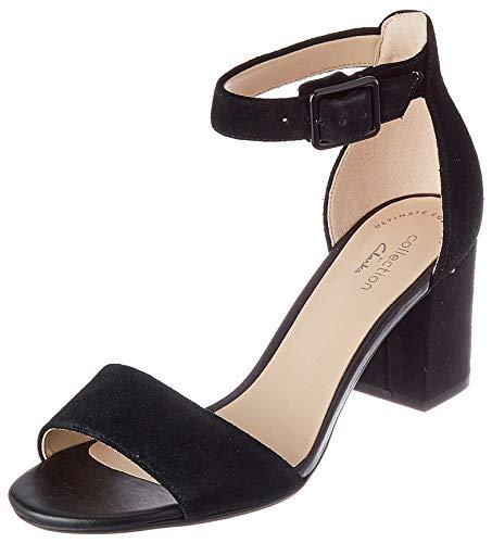 Clarks Deva Mae, Zapatos con Tacon y Correa de Tobillo Mujer, Negro (Black Suede-), 39.5 EU