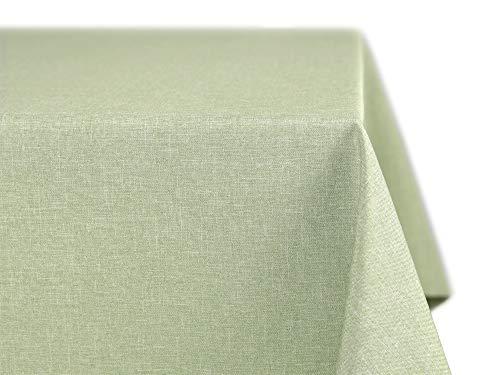 BEAUTEX fleckenabweisende und bügelfreie Tischdecke - Tischtuch mit Lotuseffekt - Tischwäsche in Leinenoptik - Größe und Farbe wählbar, Eckig 135x200 cm, Hellgrün