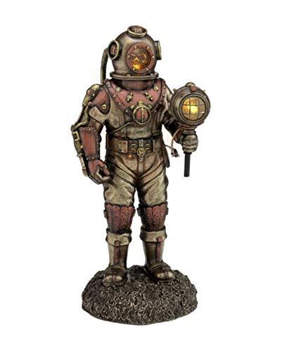 Taucher Steampunk Diver bronzierte Figur Taucher mit Licht toter Taucher Led