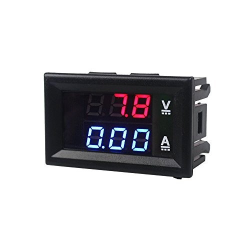 BE-TOOL Voltímetro multímetro, voltímetro digital y amperímetro con pantalla dual LED rojo azul DC 0 – 100 V 10 A, herramienta de bricolaje para el hogar