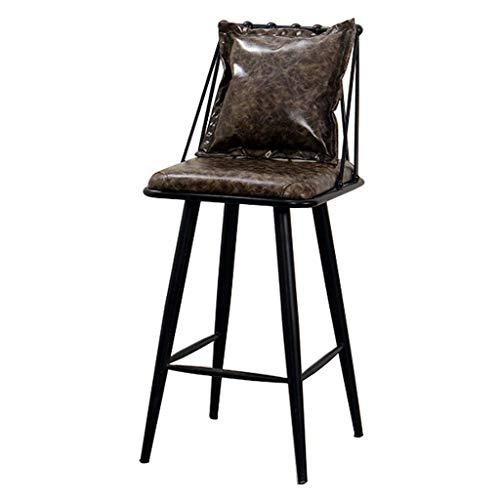 CJ & WIN - Taburete de bar con respaldo de metal y hierro sintético para cocina, silla de comedor con contador de almohada, cojín de cuero sintético, 42 x 42 x 65 cm