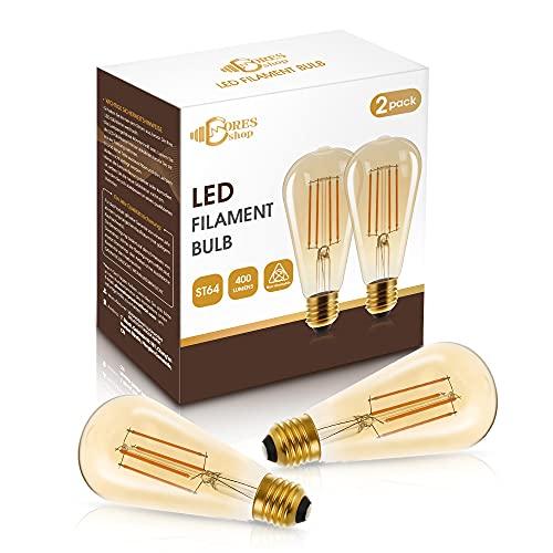 Lampadina Edison vintage DORESshop, lampadina LED E27, bianco caldo 2700K, lampadina ST64, vetro ambrato stile antico, 4W(equivalente a 40W), 470LM, non dimmerabile, confezione da 2