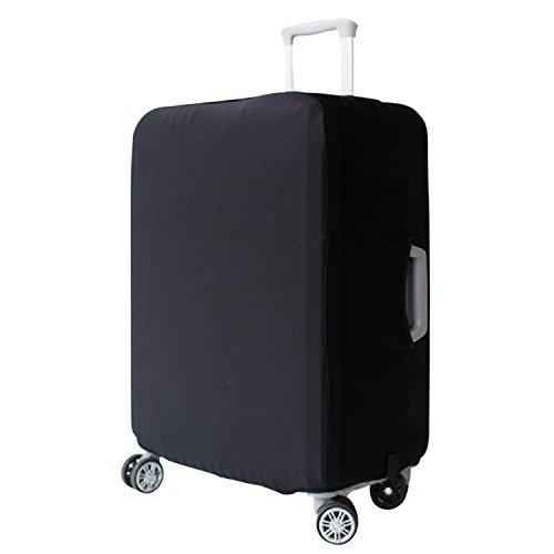 Elastisch Kofferhülle Kofferschutzhülle Abdeckung Gepäck Cover Reisekoffer Hülle Koffer Schutzhülle Luggage Cover mit Band und Klettverschluss, Schwarz (XL 32Zoll)