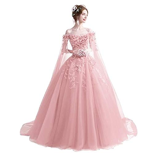 LEJY Women's Off The Shoulder Quinceanera Dress Applique Masquerade Ball Gownrom Dress 8 Blush