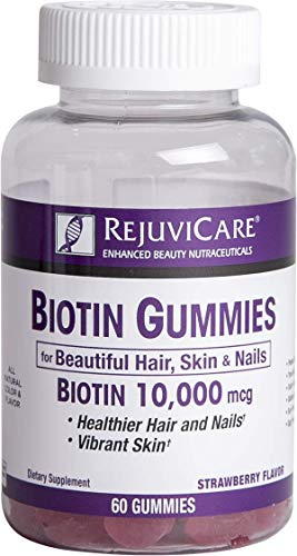 Rejuvicare Biotin Gummies 10,000mcg for Beautiful Hair, Skin and Nails, 30 servings