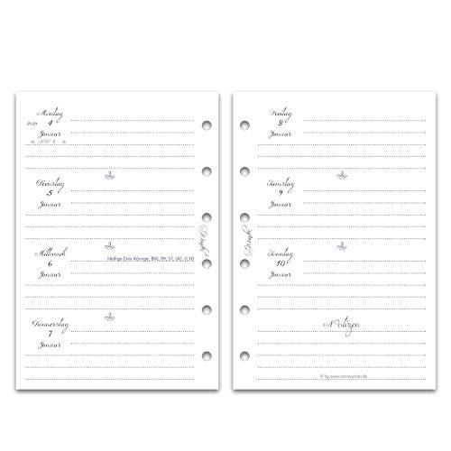 SinnWunder® Premium-Kalendereinlagen - Wochenplan mit 1 Woche auf 2 Seiten - VintageSinn (2021 - Pocket)