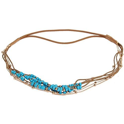 JUSTFOX - Haarband Boheme Hippie Style mit farbigen Perlen und Goldener Kette Blau