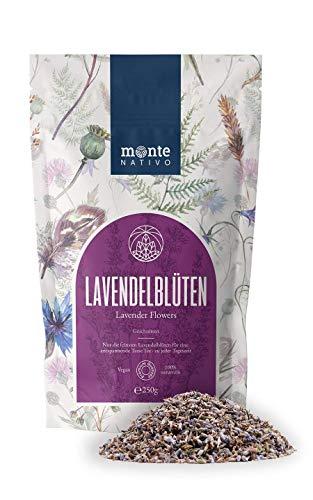 Flores de lavanda (250g) MonteNativo - Lavandа sin aditivos - Fragancia intensa - Flores para almohadas aromáticas, bolsas aromáticas y sobres - Té de lavanda - 100% puro y natural - Té o fragancia