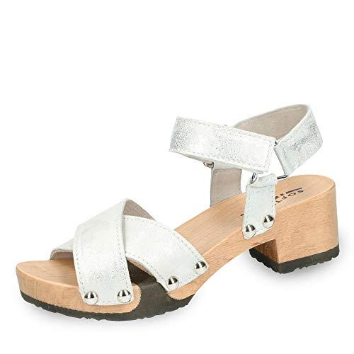 Softclox S3480 Palma - Damen Schuhe Sandaletten - weiß-Silber, Größe:36 EU