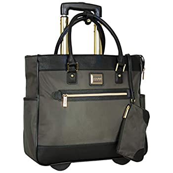 Kenneth Cole Reaction Runway Call Nylon-Twill Laptop & Tablet Business Travel Olive Wheeled Tote