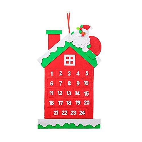 MMHJS Decoraciones Navideñas Cuenta Regresiva Calendario Colgante Dibujos Animados Anciano Árbol Calendario Calendario Fieltro Colgando Adornos