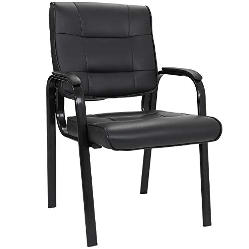 SUPER DEAL Office Guest Chair Bonded Leather Executive Side Chair Reception Chair with Solid Metal Frame Home Office Furniture