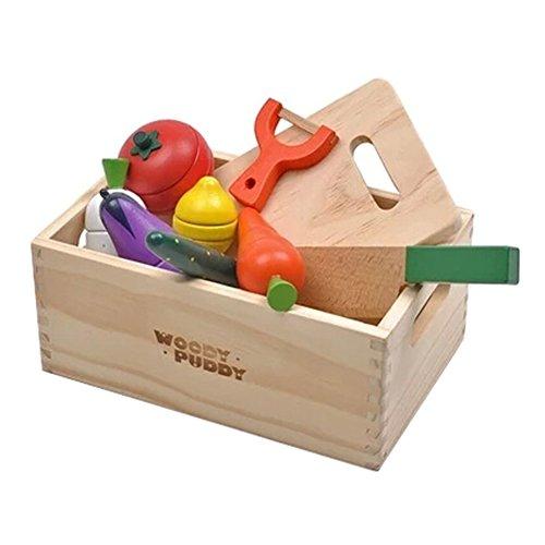 Enfants en bois Jeux de simulation légumes set avec Knife&Cutting Board&Box