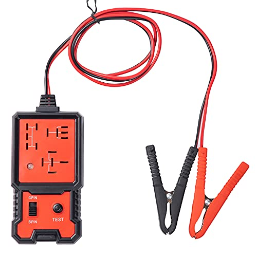 Automotive Relay Tester, 12v Electronic Power , Rapid Test Tool for Automotive Voltage Tester,LED Light Black Red Clips Auto Relay Tester, Code Readers and Scan Tools Battery and Alternator Checker