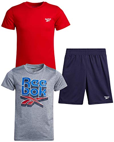 Reebok Boys 3-Piece Athletic Active Sports Tee-Shirt and Short Set, (Size 6, Light Heather Grey/Red/Navy)