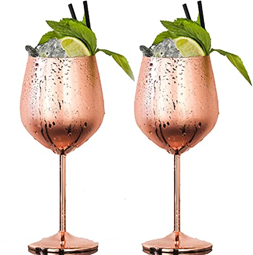 YDH Moscow Mule Cups, roestvrij staal, champagnebeker, wijnglas, Moscow Mule Copper Cups, roestvrij staal, cocktailbar, bar, accessoires, Moscow Mule Mok, Copper Cups Rose Goud, 500 ml Wijnglas X2