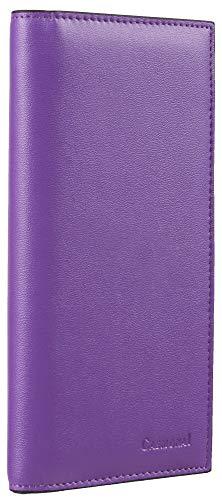 Casmonal Genuine Leather Checkbook Cover For Men & Women Checkbook Holder Wallet RFID Blocking(Lavender)