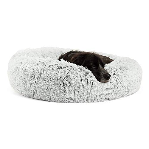 Best Friends by Sheri Calming Shag Vegan Fur Donut Cuddler (30x30, Zippered) - Medium Round Donut Cat & Dog Cushion Bed, Warming & Cozy for Improved Sleep, Machine Washable - Petsup to 45 Lbs