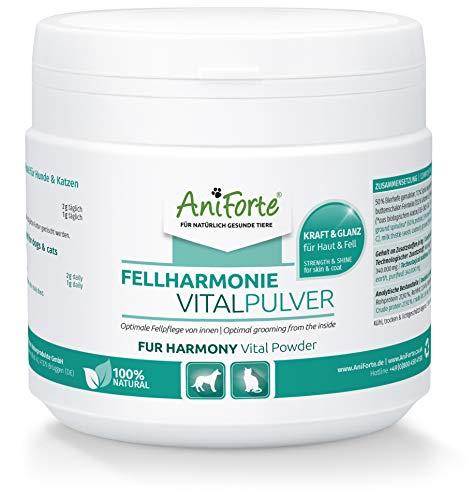 AniForte Fellharmonie Fellpflege für Hunde & Katzen Vitalpulver 250g - Natürliches Pulver für glänzendes Fell, Optimale Pflege von innen für vitale Haut & Haare, unterstützt Stoffwechsel & Immunsystem