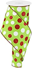 Glitter Multi Dots Wired Edge Ribbon - 4 Inch x 10 Yards (Lime, Red, White)