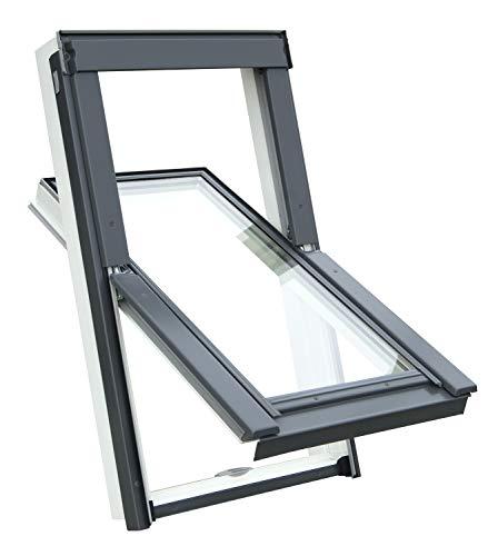 Kunststoff Dachfenster Balio Schwingfenster mit Eindeckrahmen und Rollo (Verdunkelungsrollo) 66x112 cm (VKR Konzern Rooflite Velux) wie 66x118cm