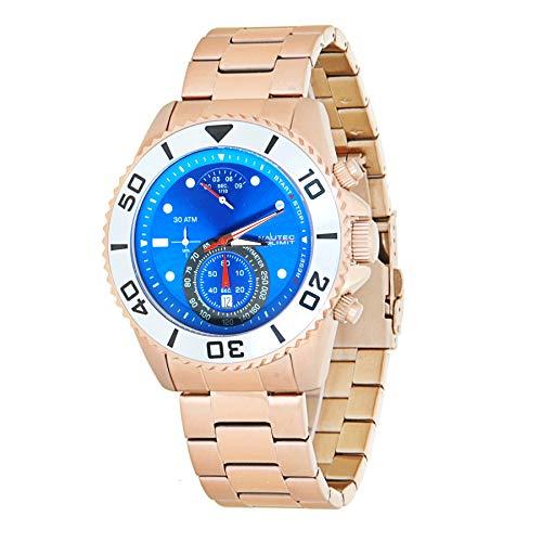 Nautec No Limit Herren Chronograph Quarz Uhr mit Edelstahl Armband COUF-QZ RG-BL