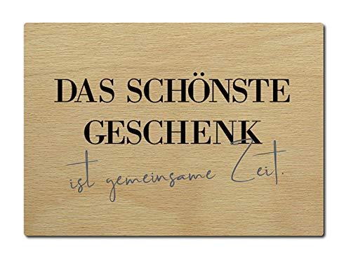 Interluxe Postkarte aus Holz Das schönste Geschenk ist gemeinsame Zeit Freund Freundin DIN A6 105x148mm Karte Echtholz Spruch