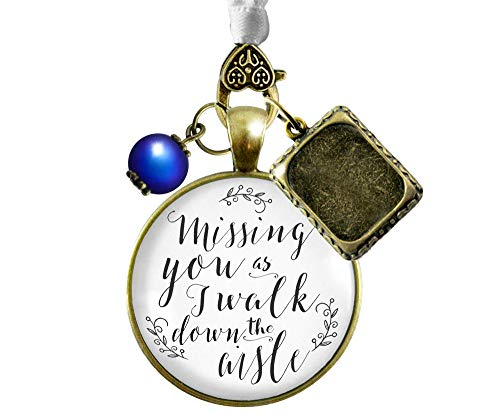 Bouquet Charm Missing You Wedding Memorial Jewelry Bridal Photo Frame Blue Bead