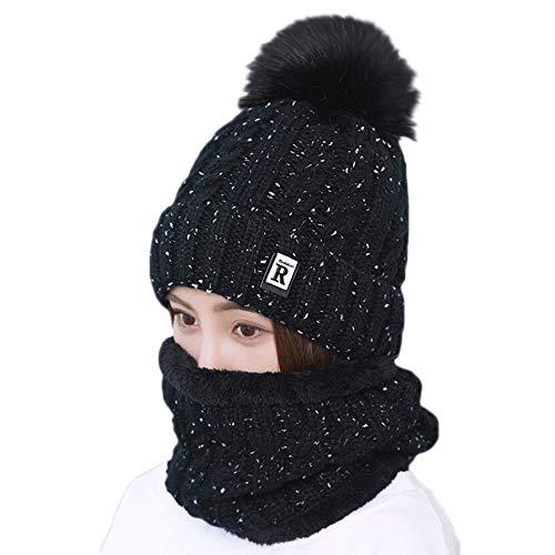 Amphia - 2 Stücke Frauen Winter Warm Gestrickte Venonat Beanie Mütze + Schal Warmhalten Set,Plus Samt warme Haare Ball Hut Lätzchen zweiteilig R(Black)