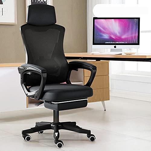 Sedie per computer, sedia Executive con ruote in linea superiore, con poggiatesta lombare, poggiapiedi reclinabile regolabile in pelle PU, nero