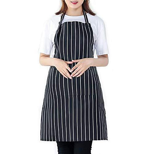 Hola felices compras Delantal de Chef, Delantal de Cocina, Comedor y Delantal de Cocina casera (Black-B)
