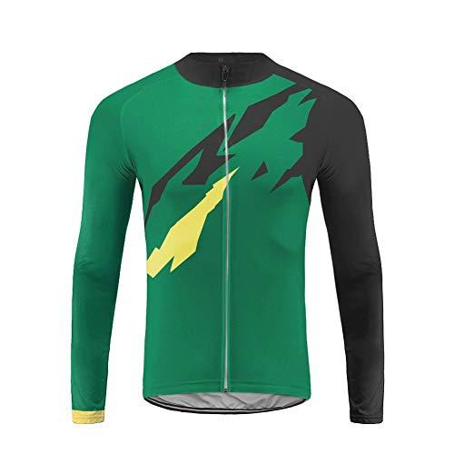 Future Sports Jersey de Ciclismo de Visibilidad Extrema, de Manga Larga, Ajuste Slim Fit, Camiseta de MTB Winter Fleece Ropa Hombre Top