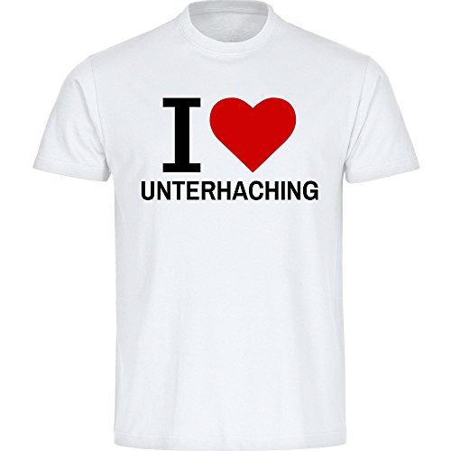 Kinder T-Shirt Classic I Love Unterhaching - weiß - Größe 128 bis 176, Größe:152