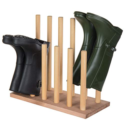 MyGift 6-Pair Natural Wood Inverted Boot Storage Rack