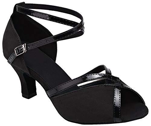 Minitoo Damen Tanzschuhe Schwarz 7,5 cm Absatz