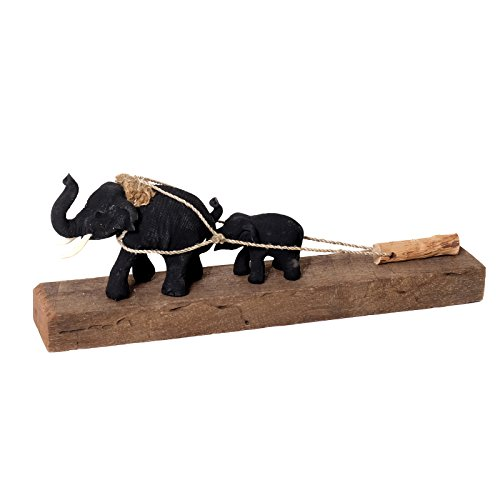 Brillibrum Design Holz Dekofigur Elefant in Handarbeit gefertigt Holzfigur Glückselefant als Dekoration Afrika Statue