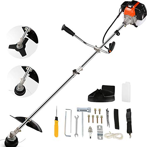 COOCHEER String Trimmers 42.7cc Brush Cutter 2-in-1 Weed Eater Gas Straight Shaft Weed Trimmer 2-Cycle with U-Handle, 2 Trimming Heads for Small Grass/Heavy Bush(Orange)